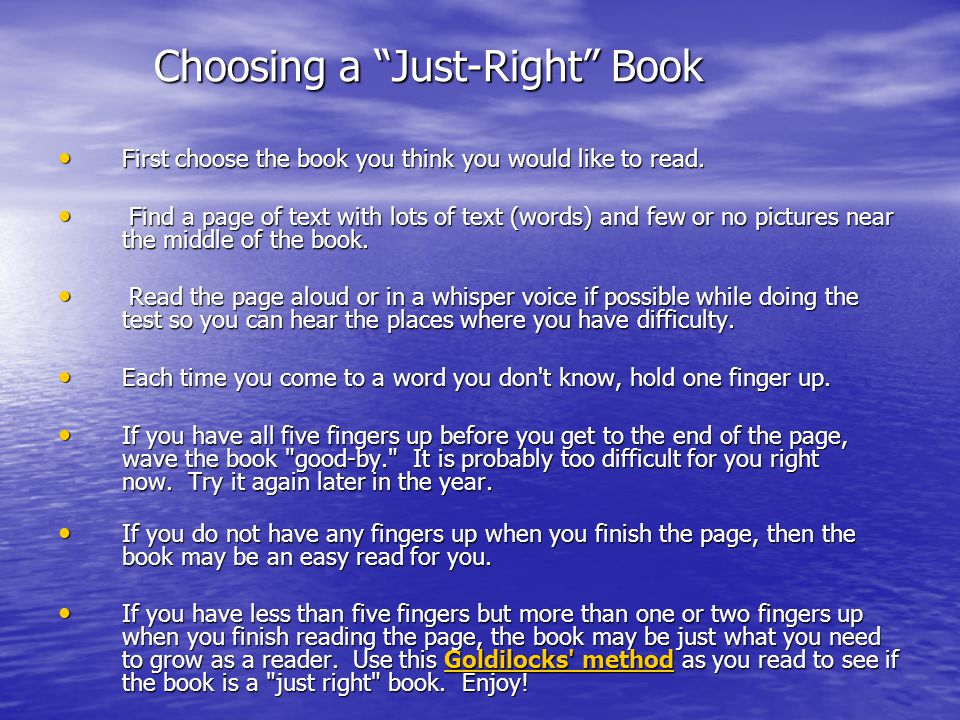 Choosing a Just-Right Book