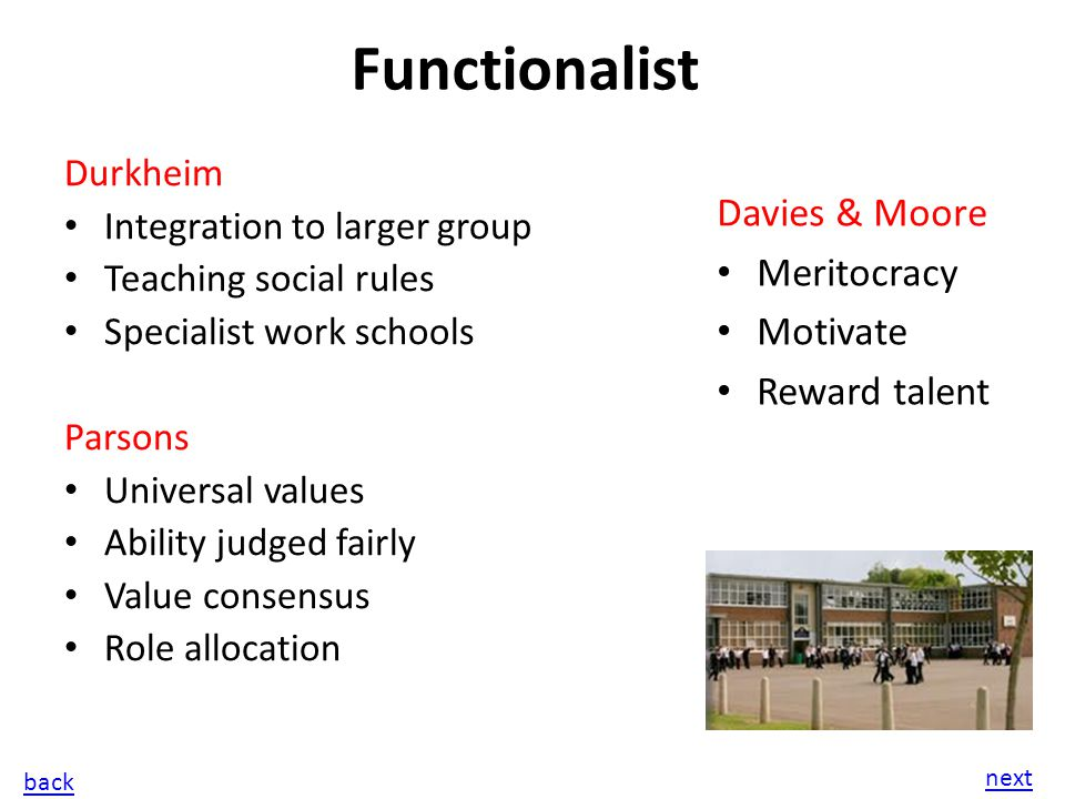 value consensus functionalist view on education Cohesion through a value consensus  there are a number of criticisms of functionalist views of education first, many areas of society are still dominated.
