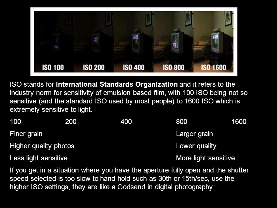 ISO stands for International Standards Organization and it refers to the industry norm for sensitivity of emulsion based film, with 100 ISO being not so sensitive (and the standard ISO used by most people) to 1600 ISO which is extremely sensitive to light.