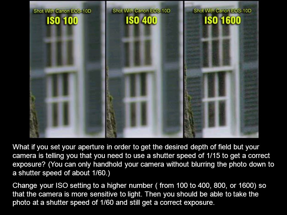 What if you set your aperture in order to get the desired depth of field but your camera is telling you that you need to use a shutter speed of 1/15 to get a correct exposure (You can only handhold your camera without blurring the photo down to a shutter speed of about 1/60.)
