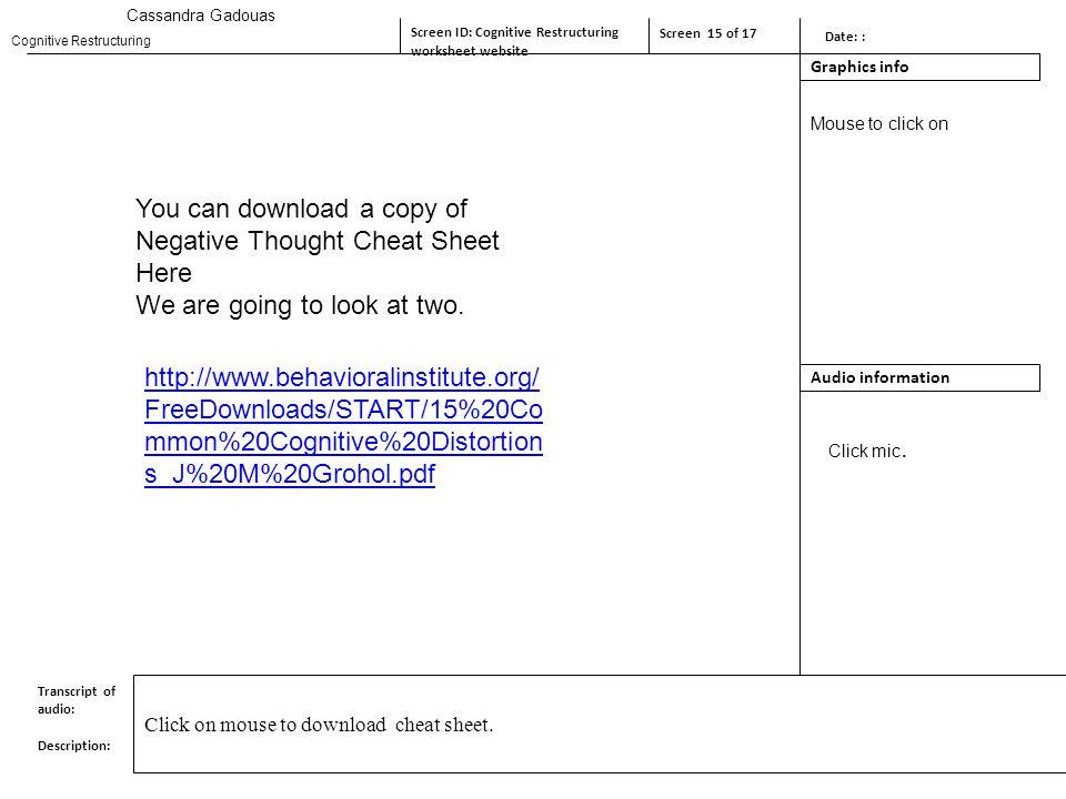 Cassandra Gadouas Screen ID Screen tIntroduction Screen 1 of ppt – Cognitive Restructuring Worksheet