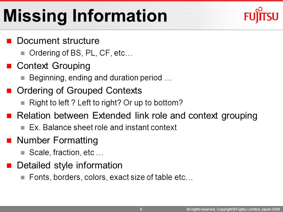 Missing Information Document structure Context Grouping