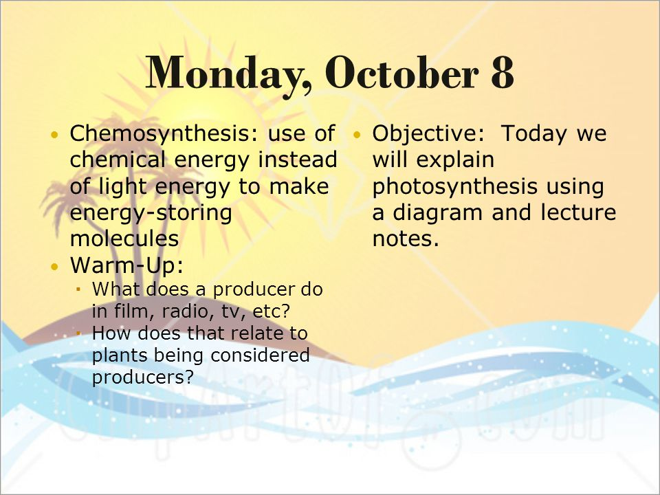 a sentence with chemosynthesis Sentence example with the word 'photosynthesis' photosynthesis definition n synthesis of compounds with the aid of radiant energy  these food-building processes are designated as photosynthesis, chemosynthesis, electrosynthesis, thermosynthesis, etc a n v d [please select] 0.