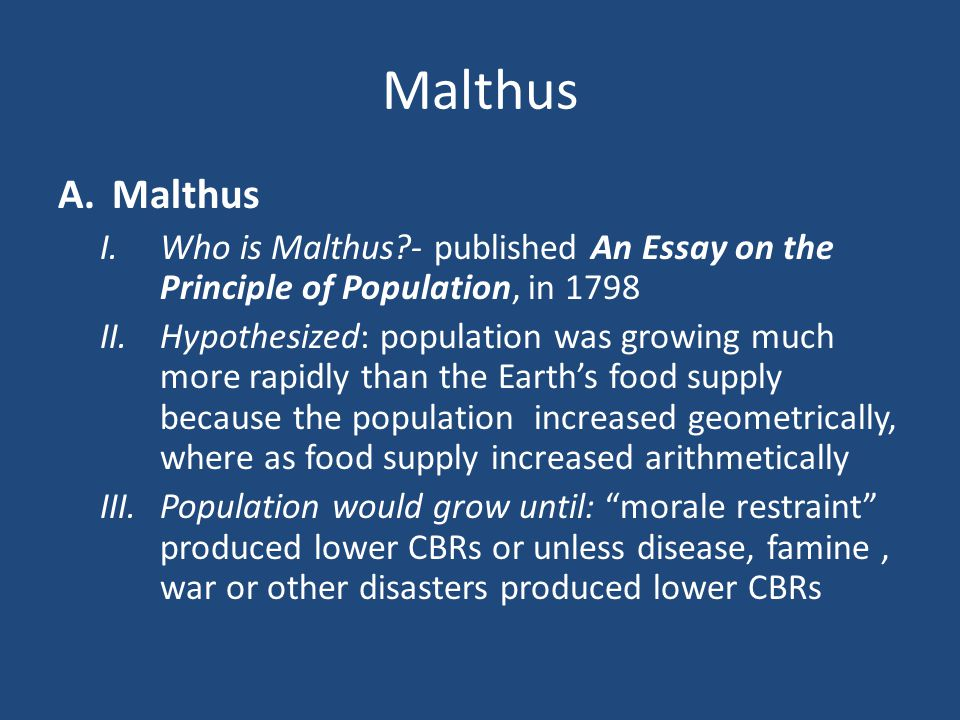 malthus t. (1798) an essay on the principle of population