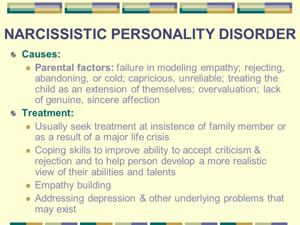 an overview of narcissistic personality disorder and its manifestation If the understanding of narcissistic personality disorder is a work in progress, then ronningstam's textbook is the most current and meaningful guide to this work.