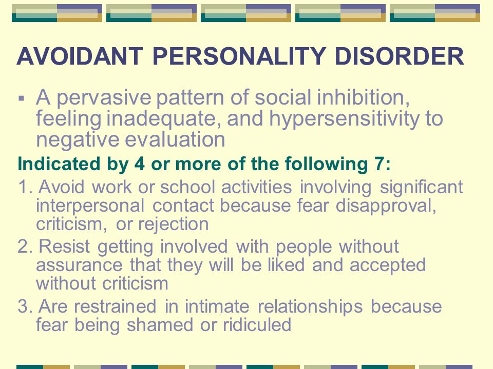 Dating avoidant personality disorder