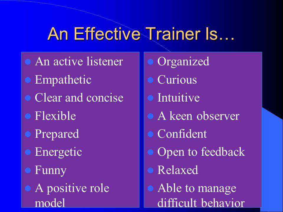"""the role of a trainer Role of the cbt trainer 1 serves as a team member to determine what is to be  learned 2 stimulates trainees"""" motivation 3 manages learning: a consultant."""