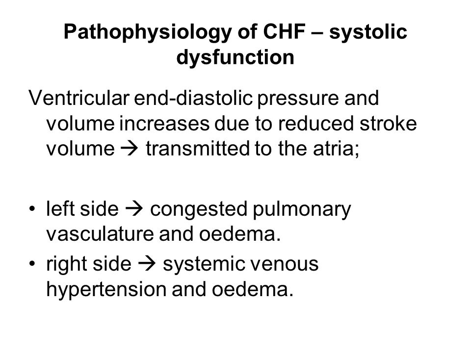 pathophysiology of chf Heart failure is a clinical syndrome characterized by impaired structure and/or function of the heart, leading to dyspnea and fatigue at rest or with exertion the pathophysiology of.