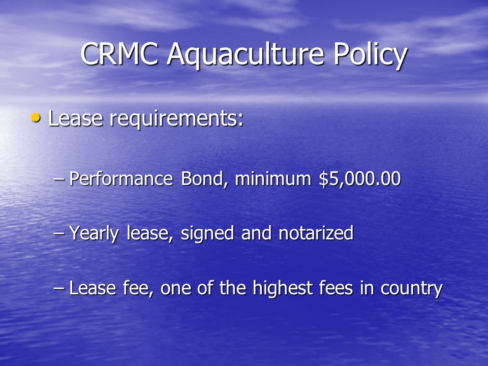 CRMC Aquaculture Policy