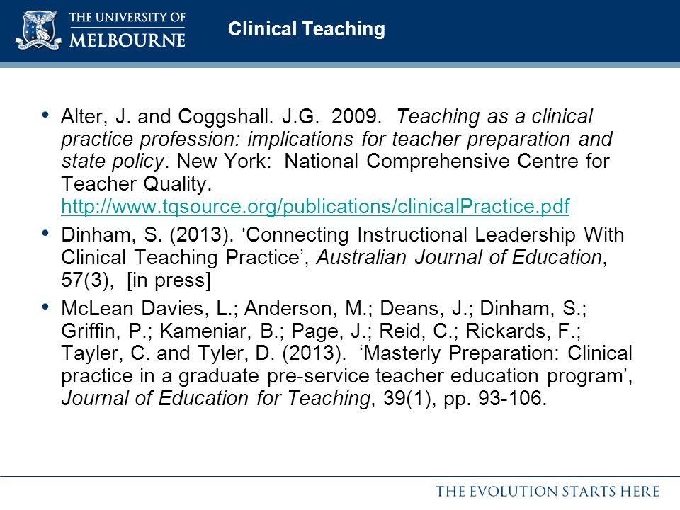teaching as clincal practice Nurs health sci 2002 dec4(4):201-8 reflective practise in clinical teaching  lau ak(1), chuk kc, so wk author information: (1)department of nursing  studies.