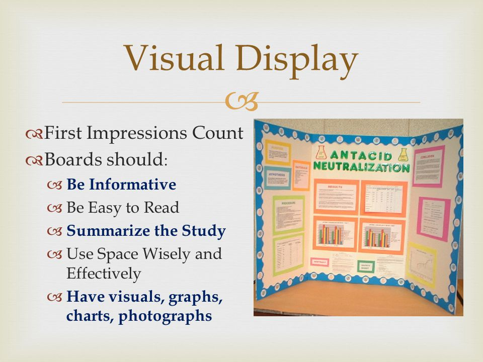 Visual Display First Impressions Count Boards should: Be Informative