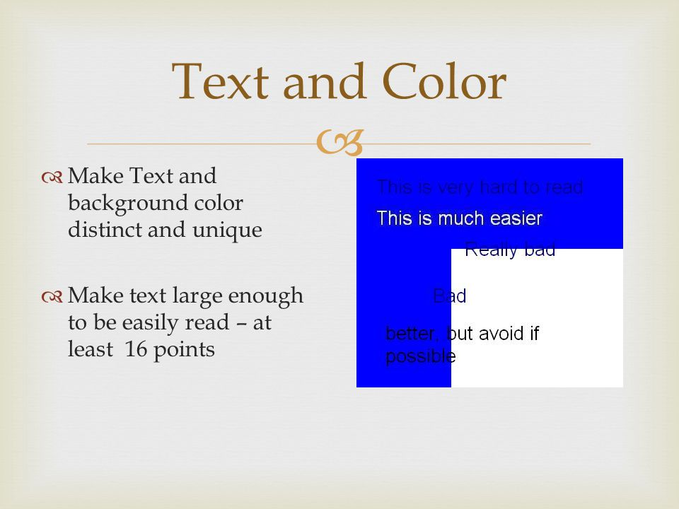 Text and Color Make Text and background color distinct and unique