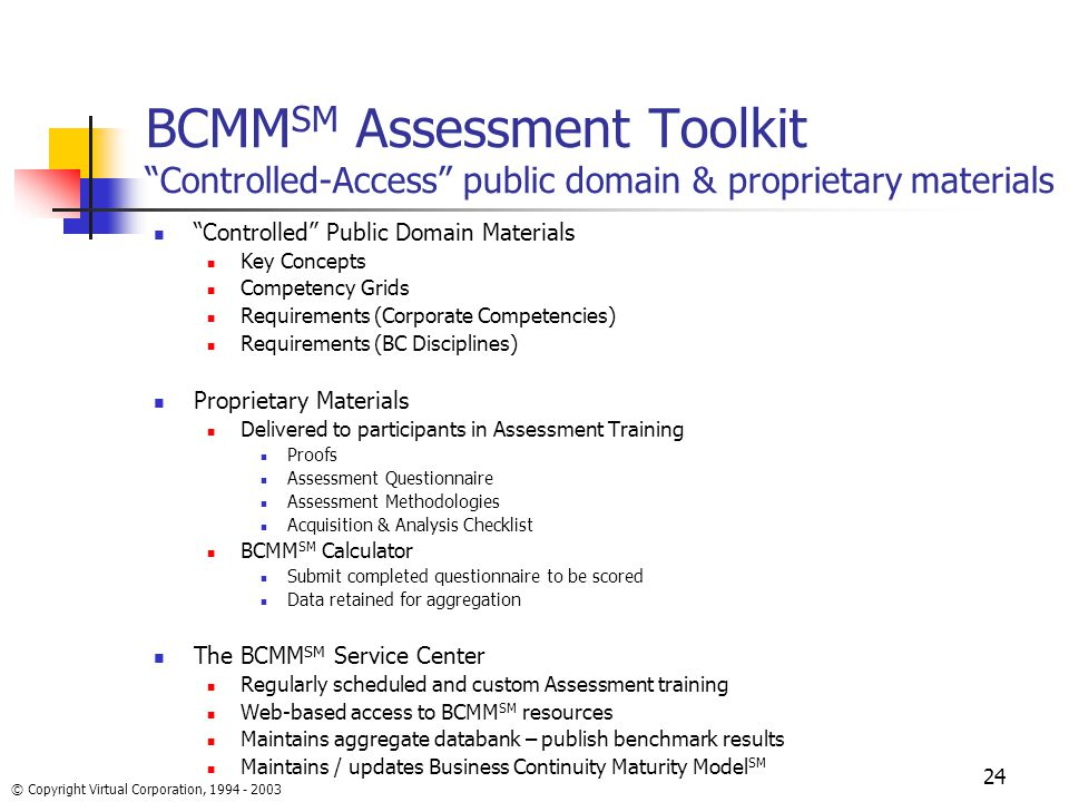 Bcmmsm Assessment Toolkit Controlled Access Public Domain Proprietary Materials