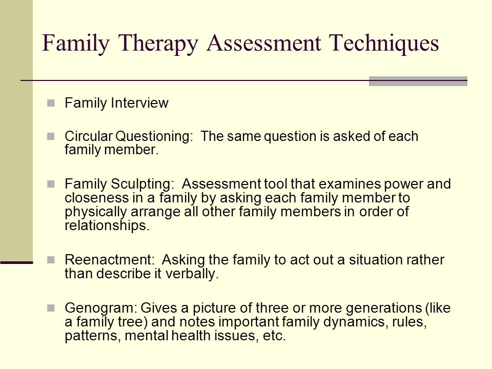 circular questions in family therapy Circular questioning is the centerpiece of a group of family counselors  to  achieve these goals, they use two types of circular questions: descriptive and   in family counseling, the method has three key aspects: circularity, neutrality, and .