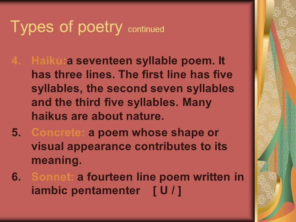 Types of poetry continued