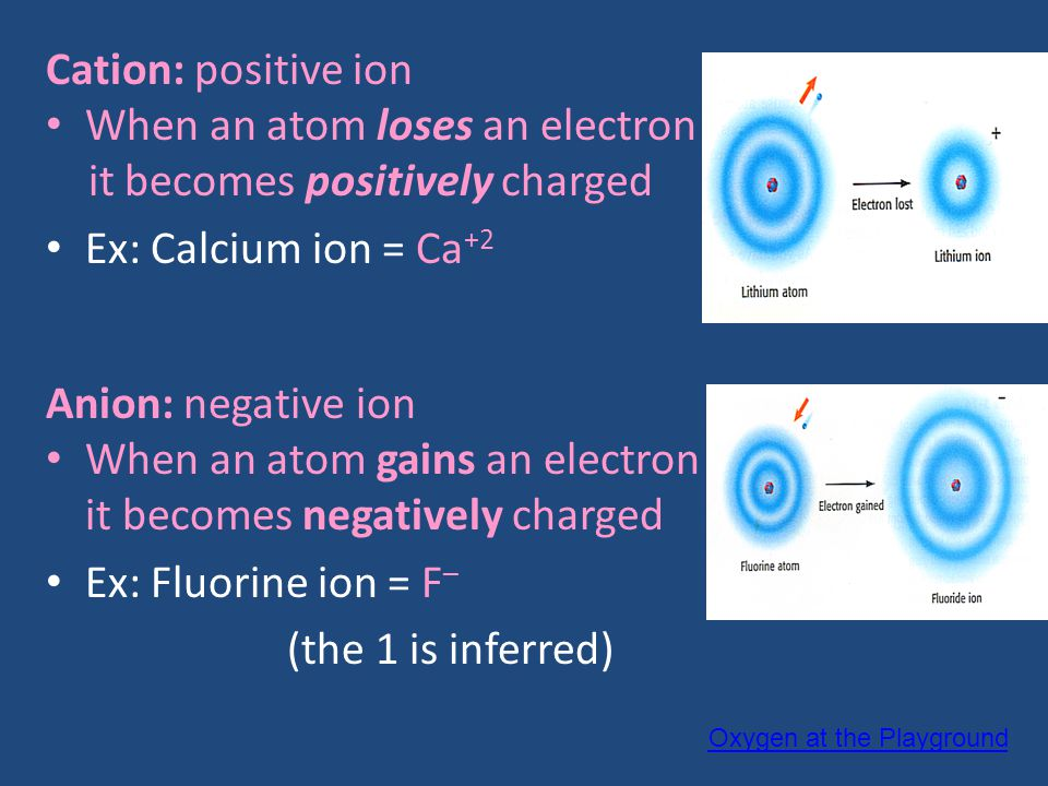 When an atom loses an electron it becomes positively charged