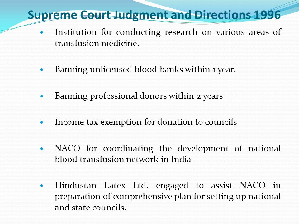 Supreme Court Judgment and Directions 1996