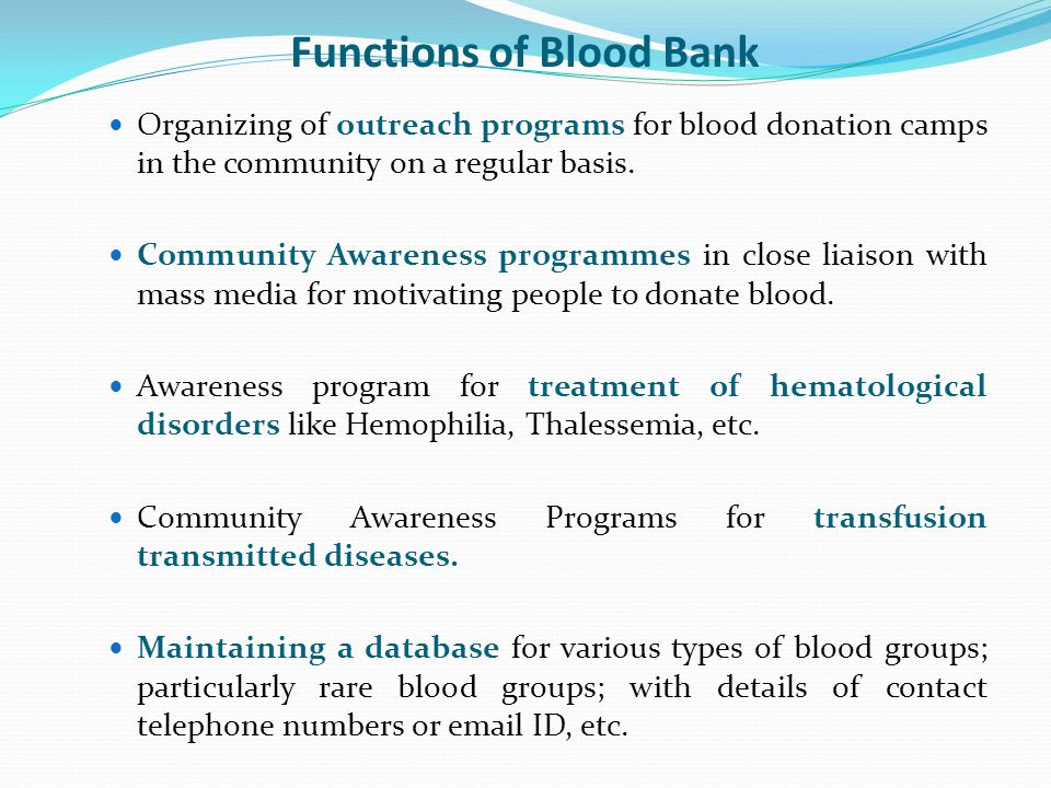 Functions of Blood Bank