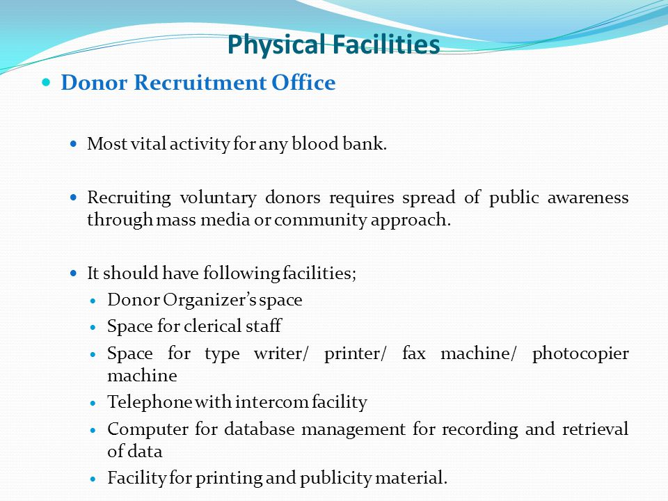 Physical Facilities Donor Recruitment Office