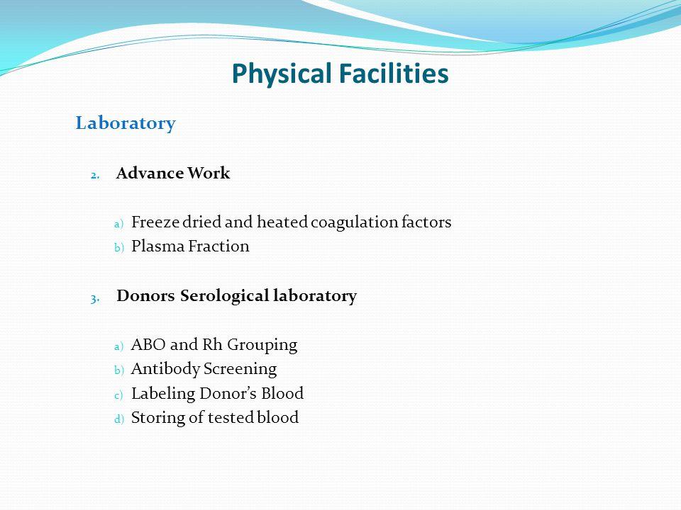 Physical Facilities Laboratory Advance Work