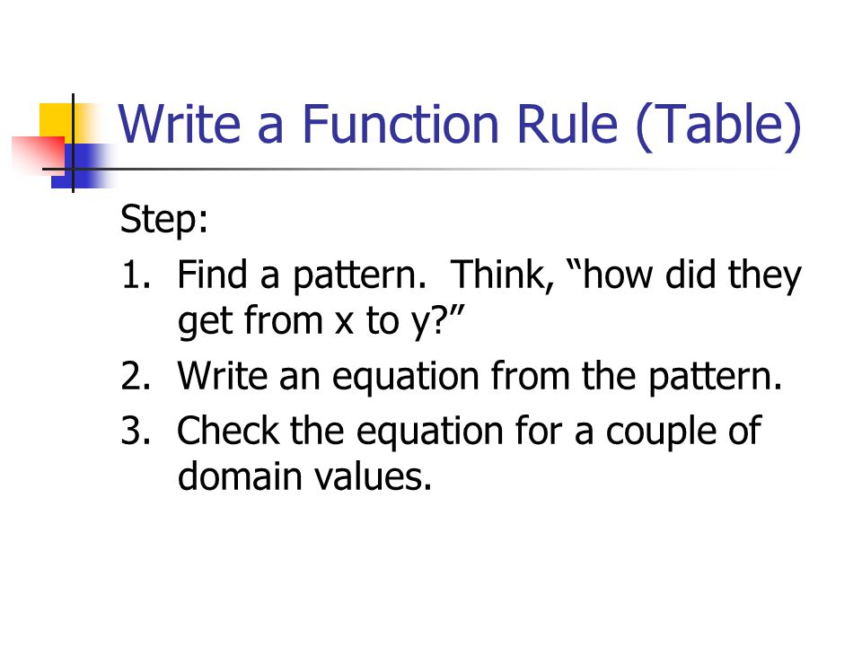4 4 writing a function rule ppt video online download for X and y table of values