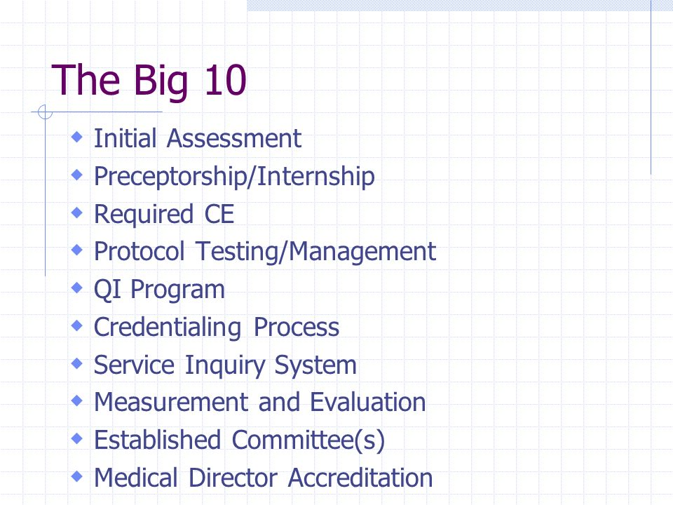 The Big 10 Initial Assessment Preceptorship/Internship Required CE