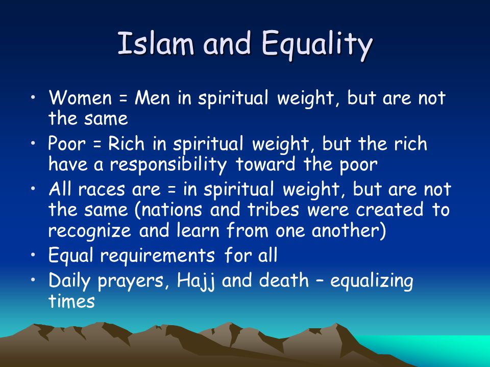 equality muslim single men He has created you from a single being then from that he made whilst there is no disputing the equality of men and women it is important to note that according to islam men and women have been created in different forms for different but complementary purposes this stresses a difference in role and nature but not a difference in status.