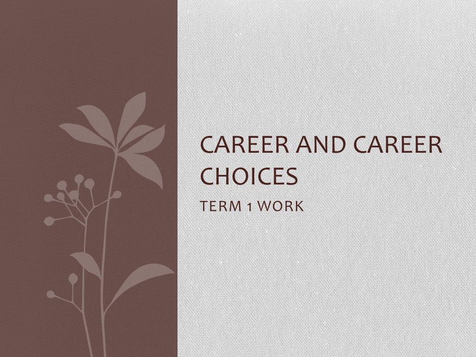 CAREER AND CAREER CHOICES
