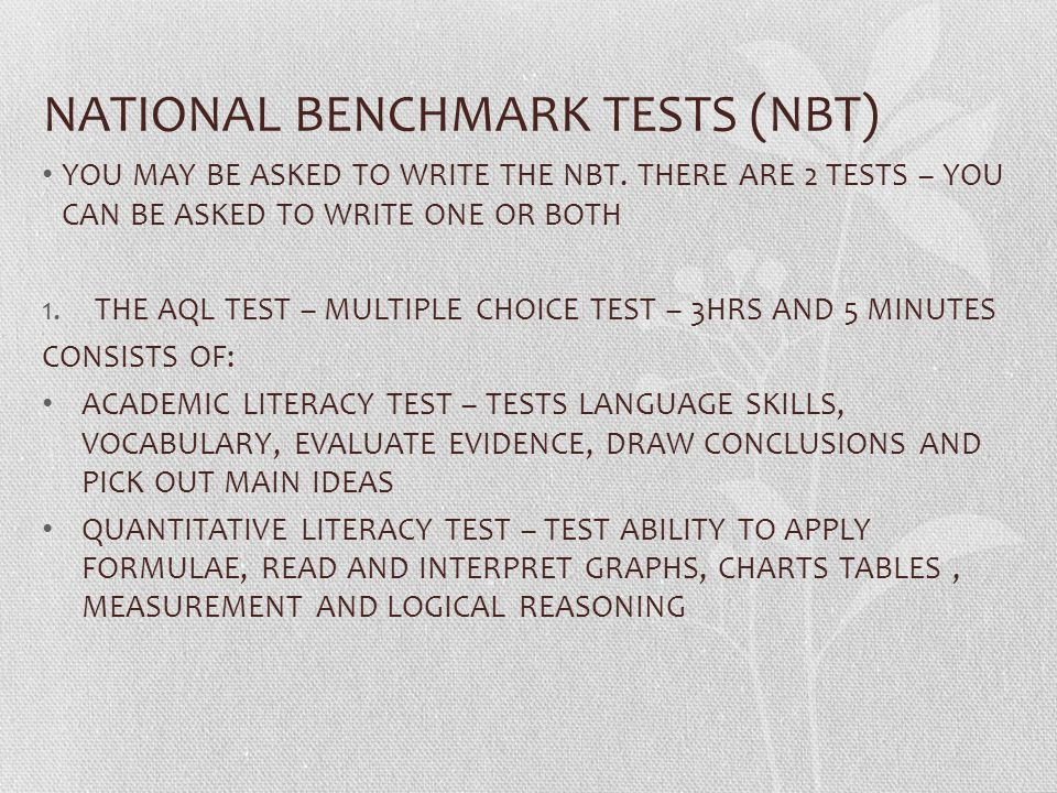 NATIONAL BENCHMARK TESTS (NBT)