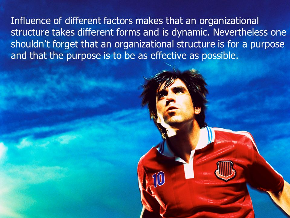 Influence of different factors makes that an organizational structure takes different forms and is dynamic.