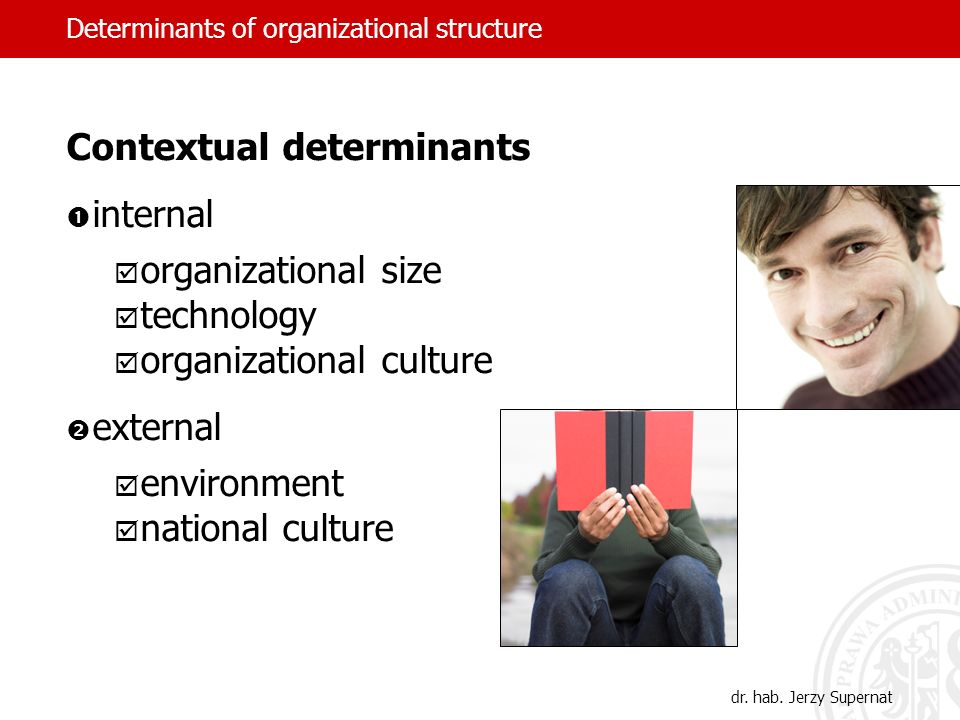 Contextual determinants internal organizational size technology