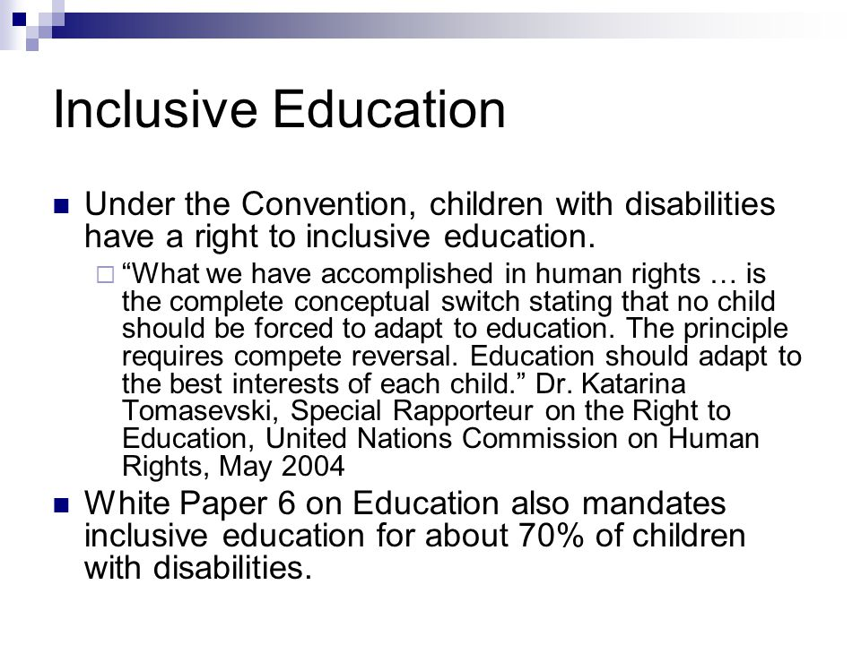 thesis on inclusive education in south africa South african journal of education, 2001, 21(4) 213 teacher preparedness for inclusive education jf hay faculty of education, vista university, po box 380, bloemfontein, 9300 south africa.