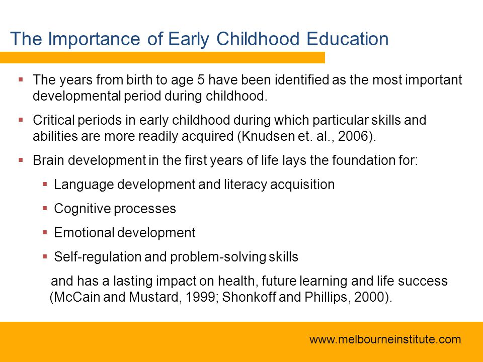 the future of early childhood education Early childhood education is not mandated by the united states department of education elementary and secondary education is all that is legally required for students, though early childhood education is doubtlessly an important and fundamental stage of learning.