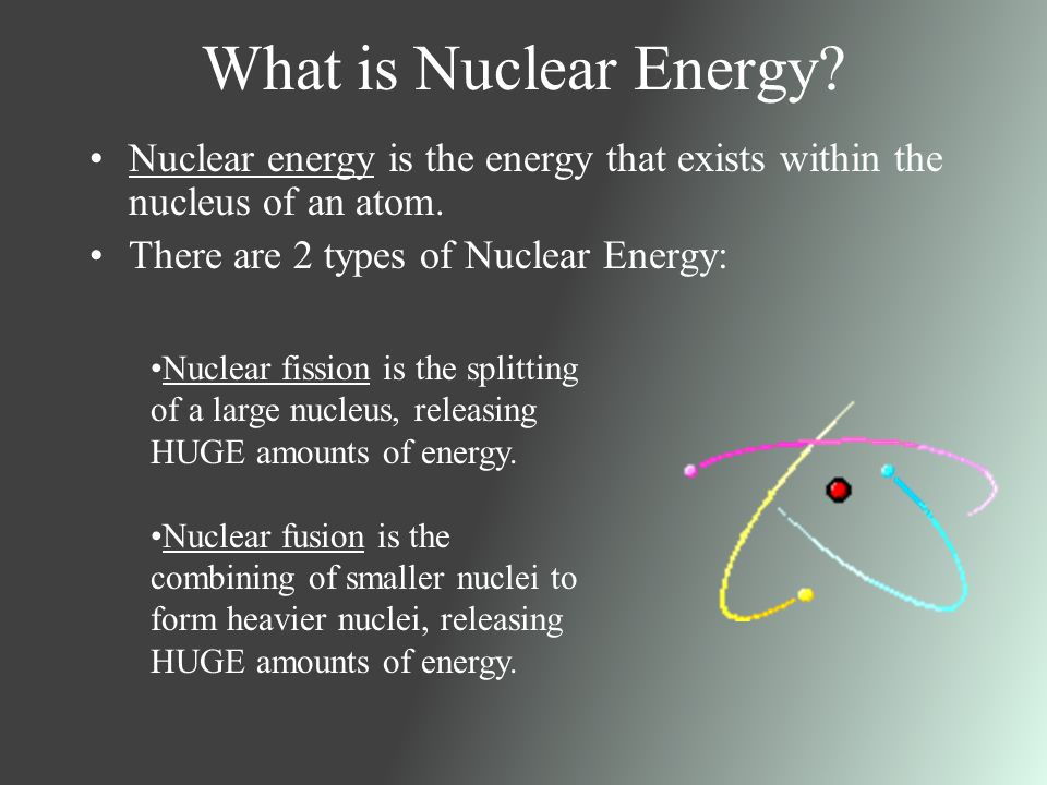 understanding nuclear power When most people hear the word radiation, they often think of atomic energy, nuclear power, and radioactivity the energy in this kind of radiation can cause changes.