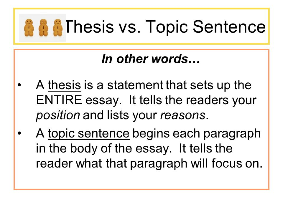 thesis sentence helper Thesis statements and topic sentences • topic sentences can help you with if you are having trouble constructing a thesis statement or topic sentences.