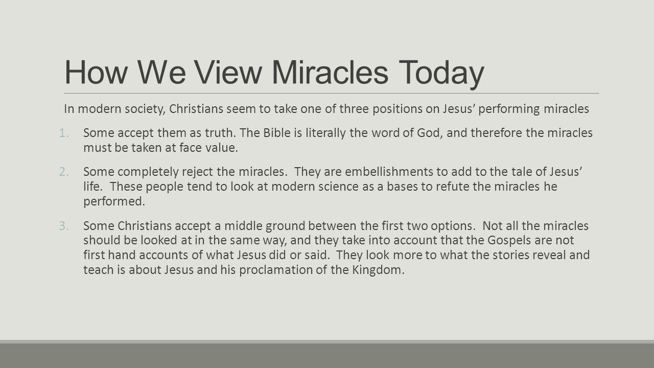 A look at some of the events in the bible where jesus performed miracles