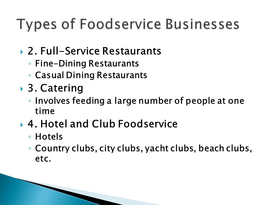 Types of Foodservice Businesses