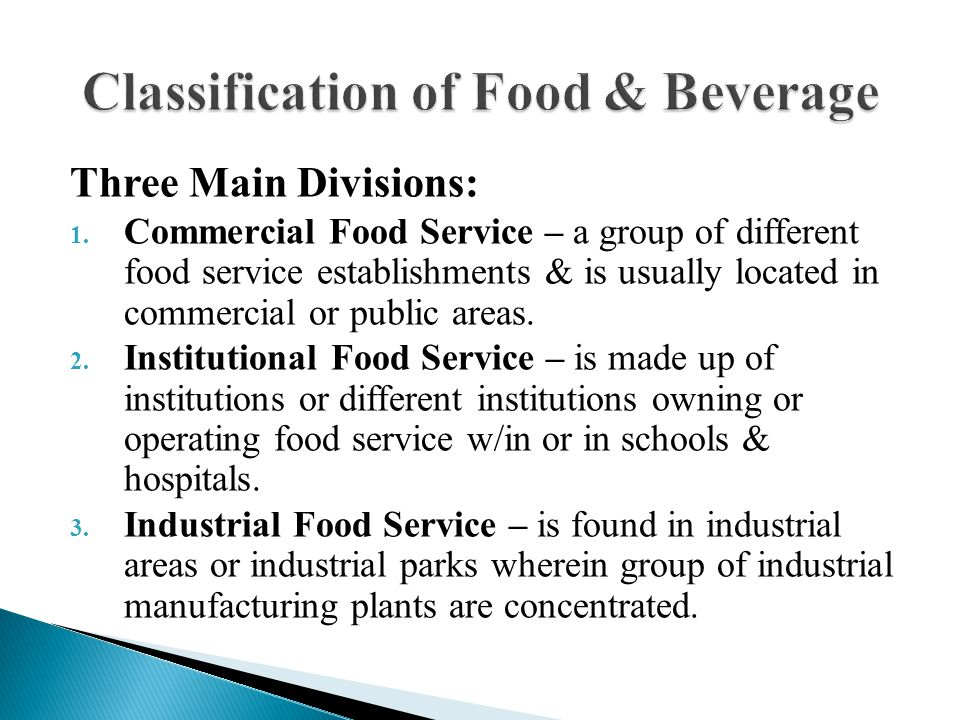 food establishment classification Revised classification of connecticut food establishments current classifications under 19-13-b42 class 1: commercially prepackaged food.