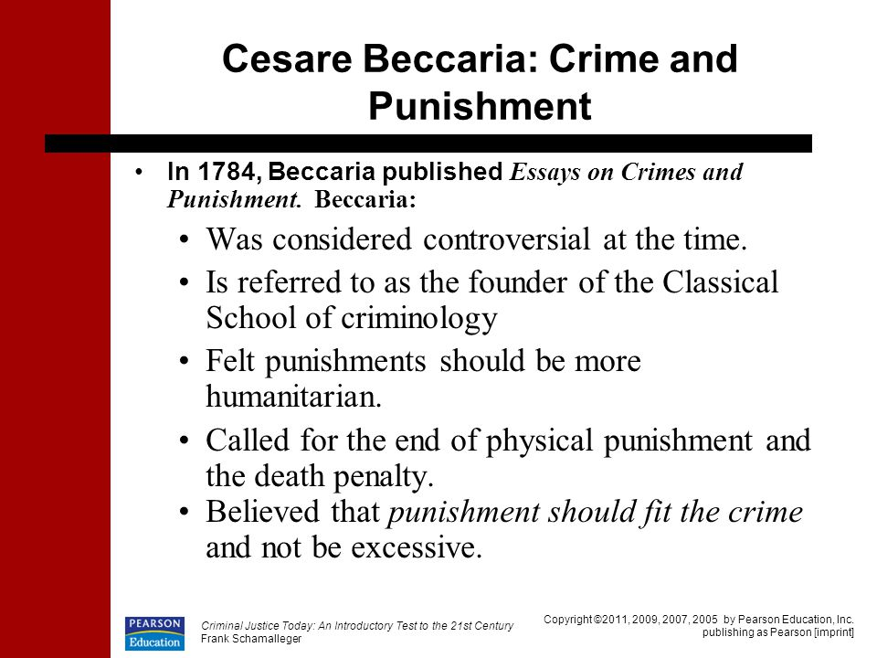 beccaria essays on crimes and punishments An essay on crimes and punishments translated from the italian of cæsar bonesana, marquis beccaria.