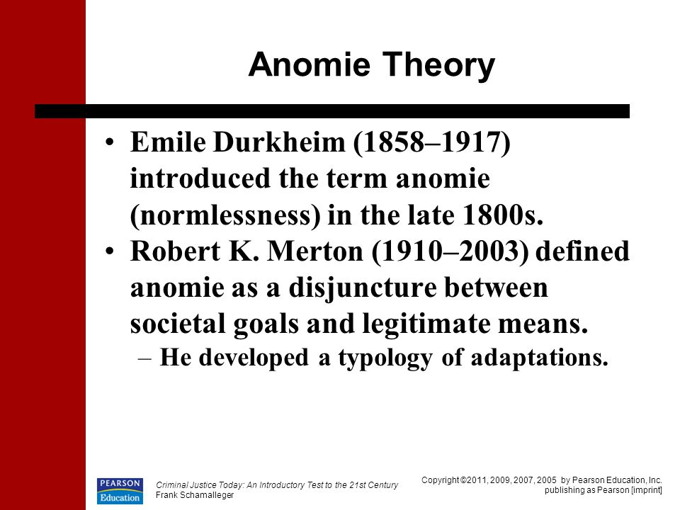 the theories of durkheim merton and The development of anomie in 1893 emile durkheim presented the concept of  have influenced other theories of  durkheim and merton both stem from the.
