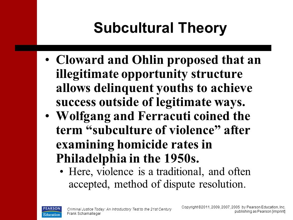 terrorism and subcultural theory of crime General strain theory (gst) provides a unique explanation of crime and delinquency in contrast to control and learning theories, gst focuses explicitly on negative treatment by others and is the only major theory of crime and delinquency to highlight the role of negative emotions in the etiology of offending.