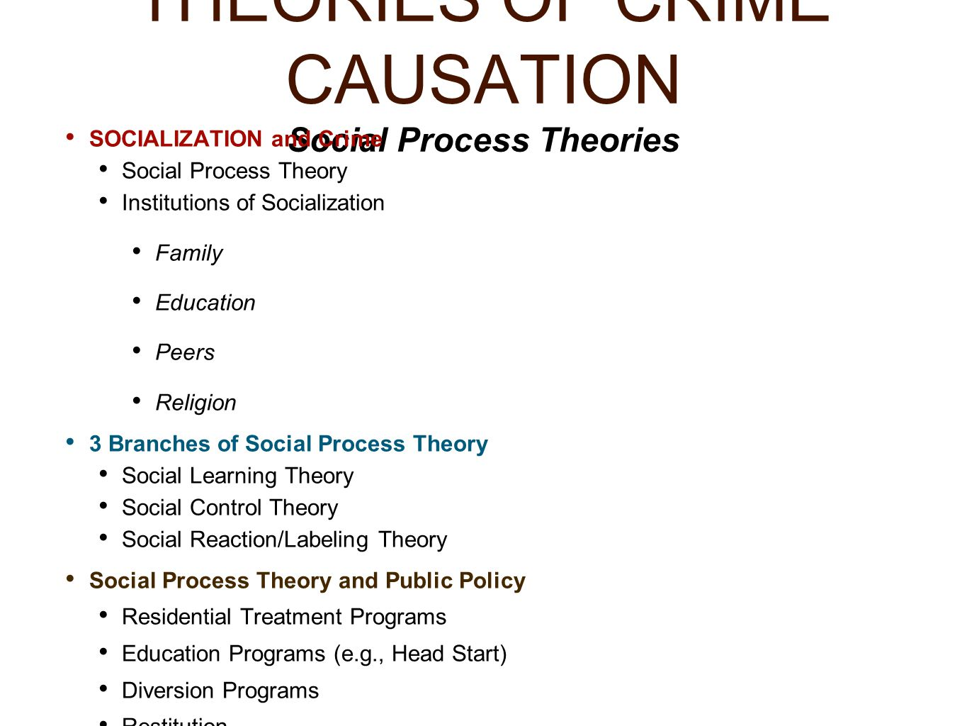 crime causation and diversion essay