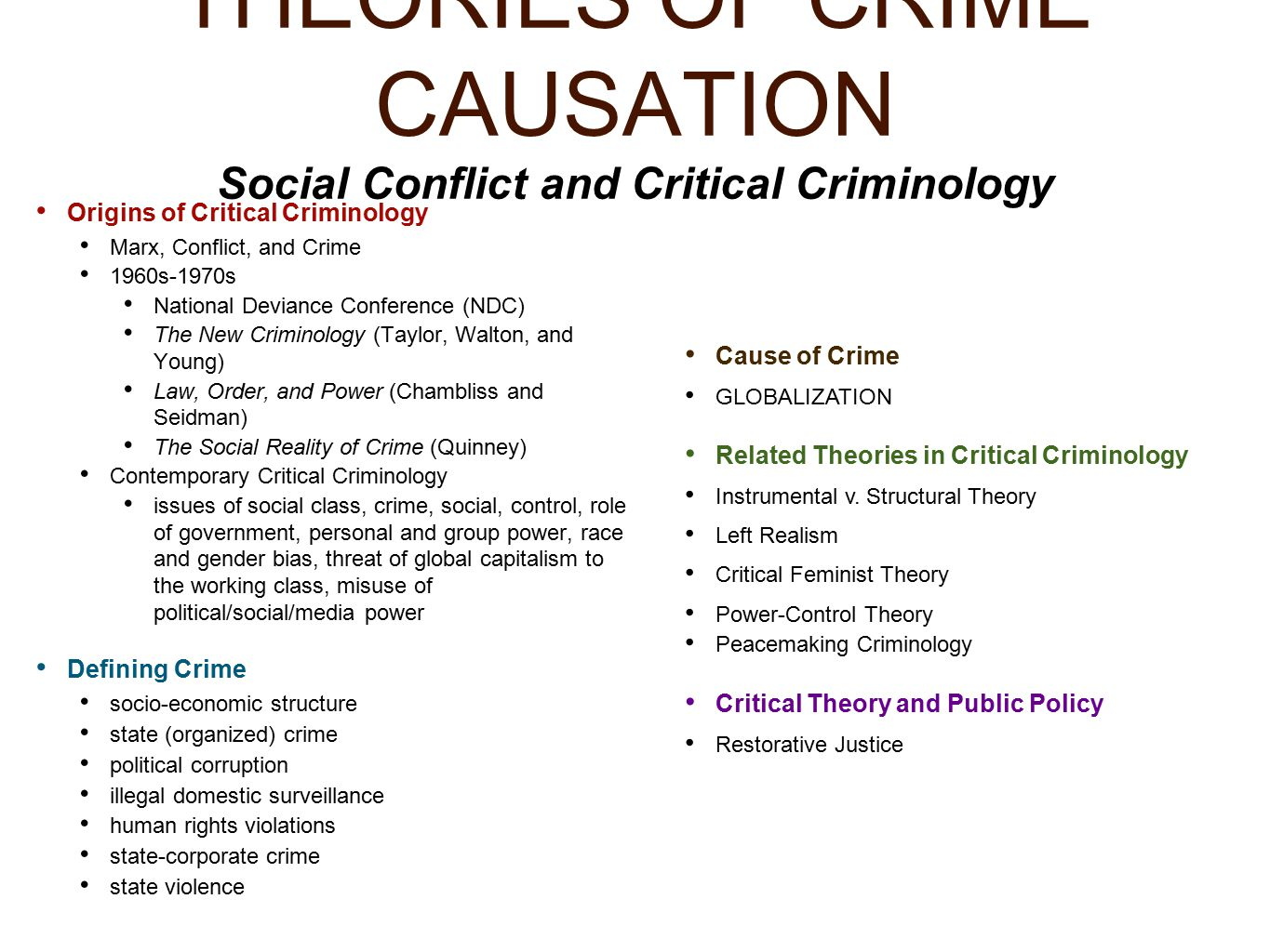 "theories of criminology Criminology: criminology ""radical"" criminological theories focus on power but anchor it in the political and economic structure of society in particular."