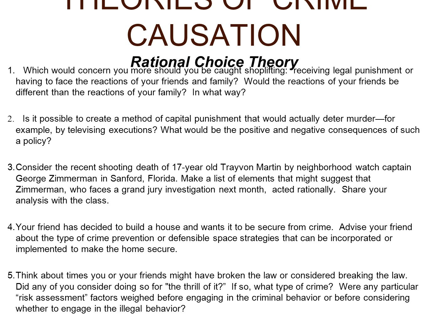 What are the Different Theories of Crime Causation?