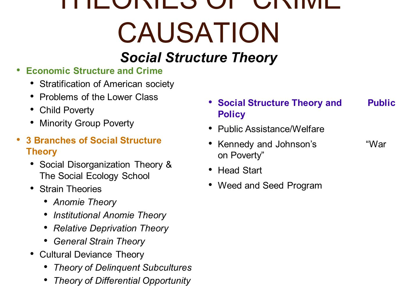 theories of crime causation essay This sample essay explores the the classical theory of crime causation was developed in the ultius, inc causes of violent acts and criminal behavior.