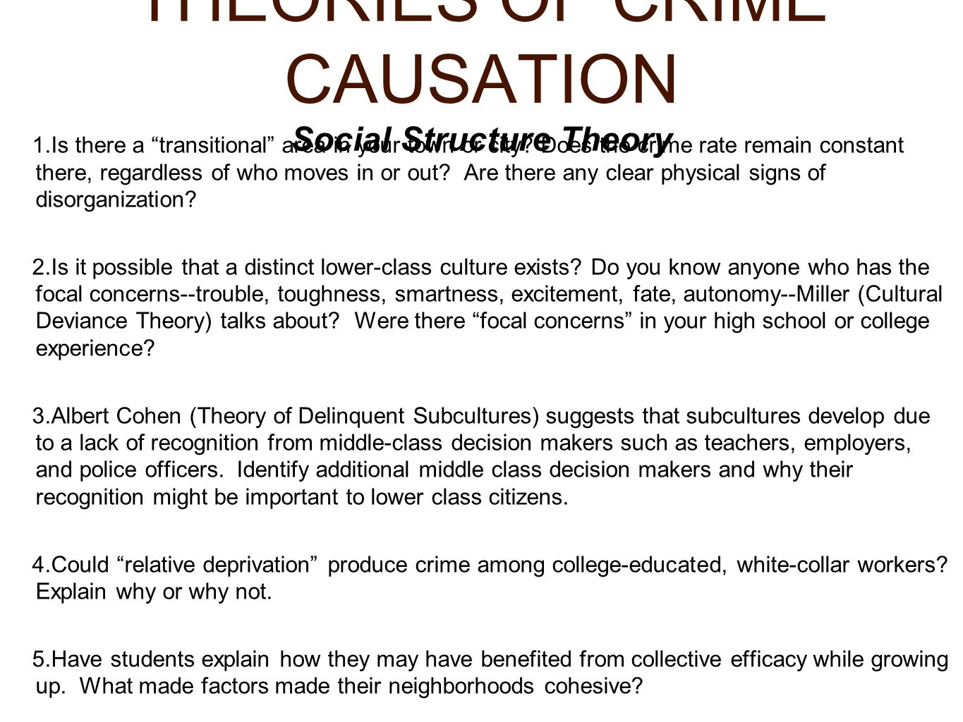 could relative deprivation produce crime among college educated white collar workers Material deprivation or minimal education social upper white-collar the burden of proof rests among proponents of the relative deprivation.
