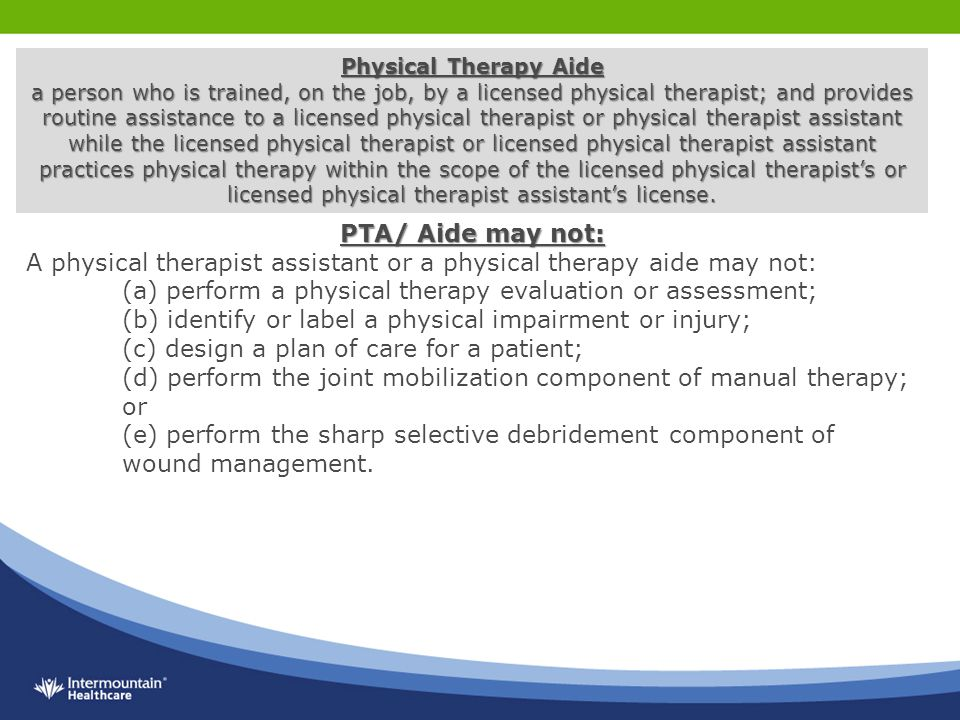 chapter 3 the physical therapist assistant (3) physical therapist assistant means a person licensed to assist in the practice of physical therapy in this state under the supervision of a physical therapist for purposes of this subdivision and subdivision.