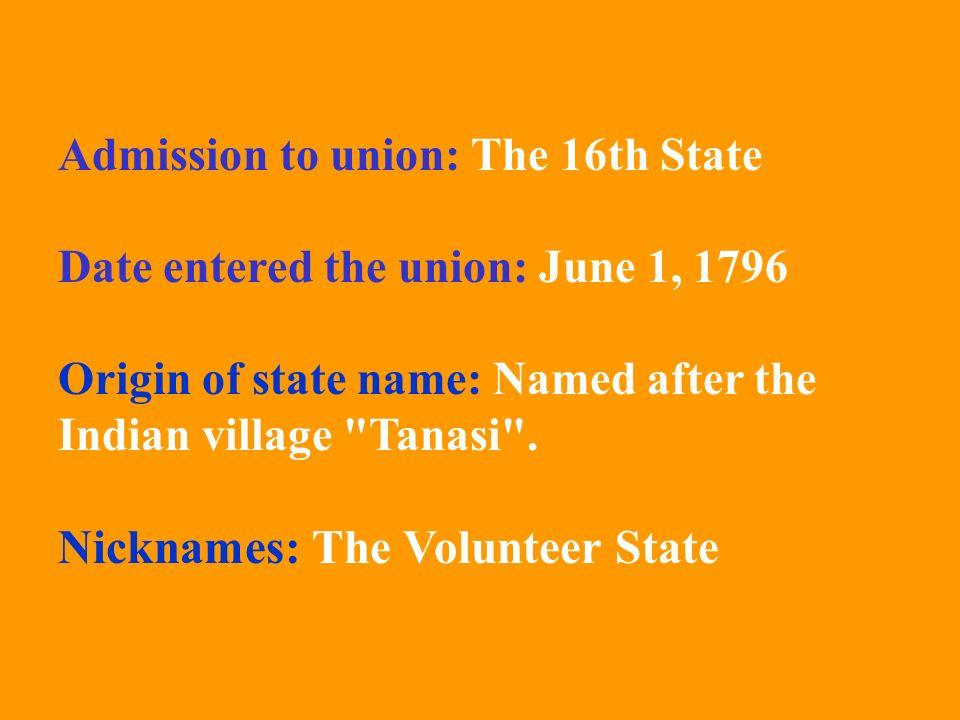 Nicknames: The Volunteer State
