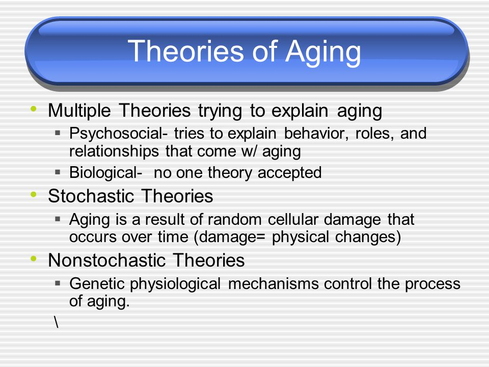 the theories explaining the process of aging Aging is a complex process that researchers are only now beginning to understand learn about the many theories of aging and how it affects our bodies.