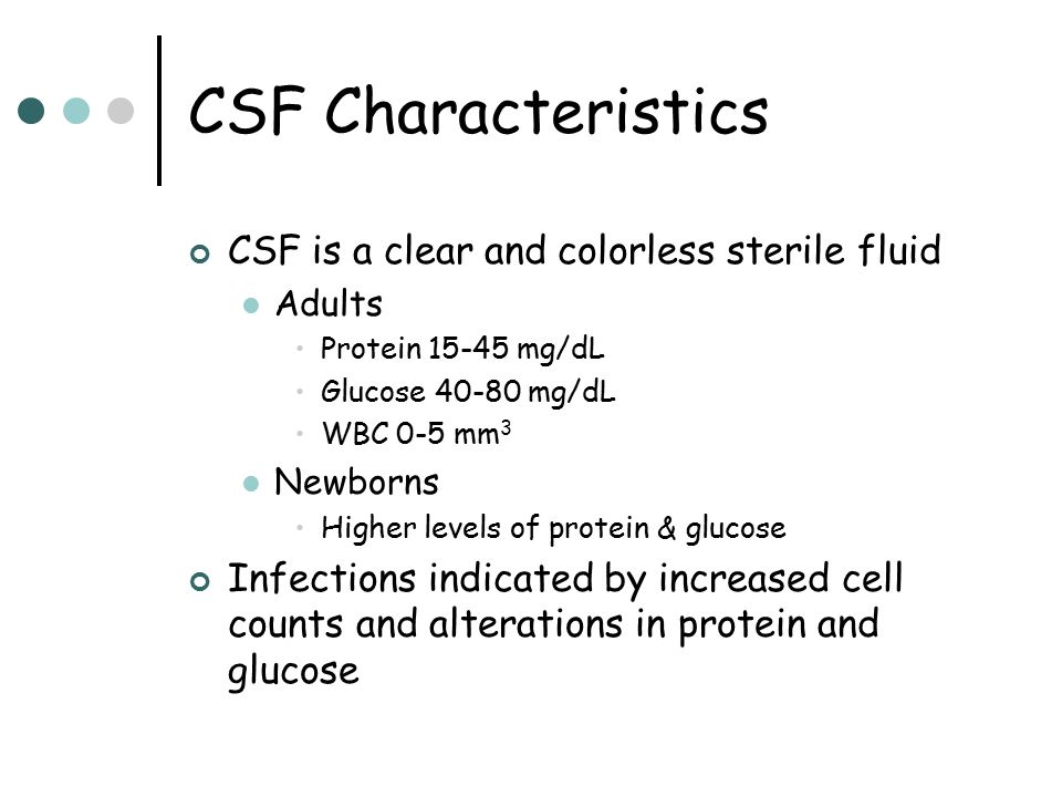 CSF Characteristics CSF is a clear and colorless sterile fluid